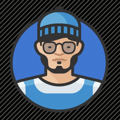 asian, avatar, avatars, beanie, glasses, hipster, man icon