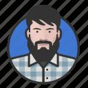 avatar, avatars, beard, flannel, hipster, man icon