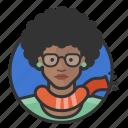 african, avatar, avatars, girl, glasses, hipster icon