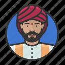 avatar, avatars, indian, man, sikh, turban icon