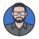 avatar, avatars, beard, glasses, man icon
