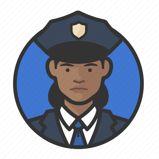 african, avatar, avatars, cop, police, woman icon