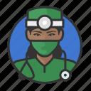 african, avatar, avatars, doctor, physician, surgeon, woman icon
