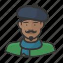 artist, avatar, avatars, beret, french, man, scarf icon