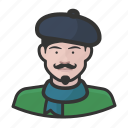 artist, avatar, avatars, beret, french, man, scarf icon