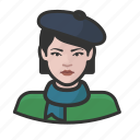 artist, avatar, avatars, beret, french, scarf, woman icon