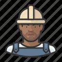 african, avatar, avatars, construction, hardhat, man icon