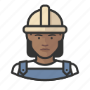 african, avatar, avatars, construction, hardhat, woman icon