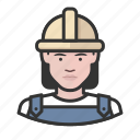 avatar, avatars, construction, hardhat, woman icon