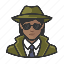 african, avatar, avatars, detective, private eye, woman icon