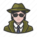 avatar, avatars, detective, private eye, woman icon