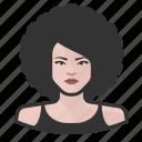 afro, avatar, avatars, big hair, disco, woman icon
