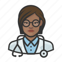 african, avatar, avatars, doctor, healthcare, physician, woman icon