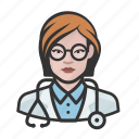 avatar, avatars, doctor, healthcare, physician, surgeon, woman icon