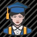avatar, avatars, education, graduate, student, woma icon
