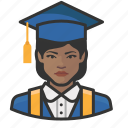 african, avatar, avatars, education, graduate, student, woman icon