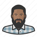 african, avatar, avatars, beard, flannel, hipster icon