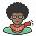 african, avatar, avatars, girl, glasses, hipster, woman icon