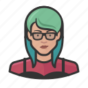 asian, avatar, avatars, girl, glasses, hipster, woman icon