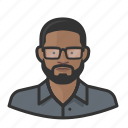 african, avatar, avatars, beard, glasses, man icon
