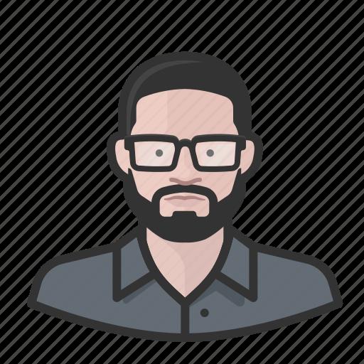 avatar, avatars, beard, glasses, man icon