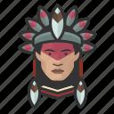 avatar, avatars, brazilian, chief, indian, man, tribal icon