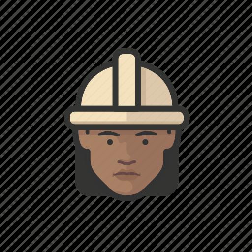 african, avatar, avatars, construction, hardhat, woman icon