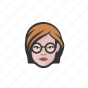 avatar, avatars, glasses, white, woman icon