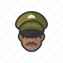 african, avatar, avatars, general, man, military, uniform icon