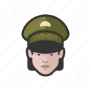 avatar, avatars, general, military, uniform, woman icon