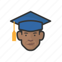 african, avatar, avatars, education, graduate, man, student icon
