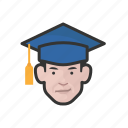 avatar, avatars, education, graduate, man, student icon