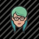 asian, avatar, avatars, girl, glasses, hipster icon