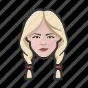 avatar, avatars, blonde, braids, white, woman icon
