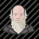 bald, beard, man, old, philosopher, sage icon