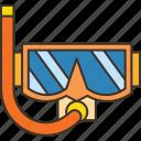 snorkel, diving, goggles, scuba, activity