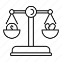 balance, divorce, gavel, judgment, legislation, punishment, verdict icon