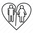 annulment, cheating, divorce, heart, heartbreak, legal, split icon