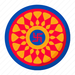 celebration, decoration, diwali, festival, indian, rangoli, sticker icon