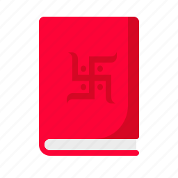 book, celebration, chopda, festival, hindu, pujan, swastik icon