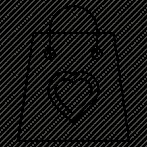 bag, buying, favorite, heart, shopping icon