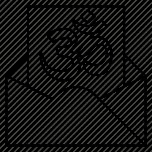 envelope, invitation, letter, om, open icon