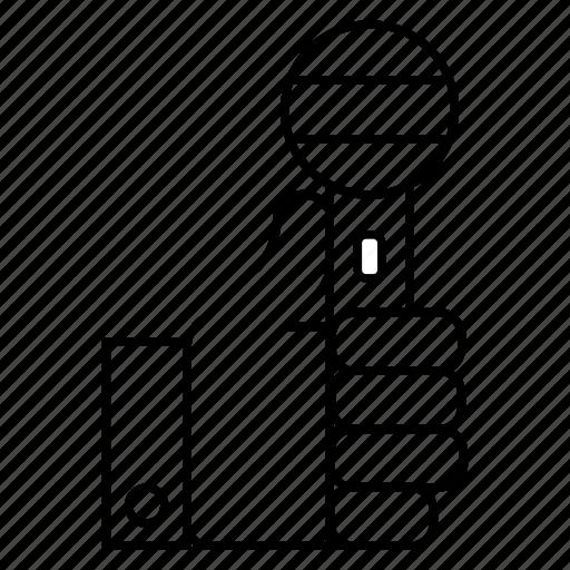 audio, hand, mic, microphone, voice icon