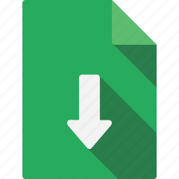 arrow, document, down, file, page, paper, sheet icon