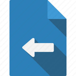 arrow, blue, document, documents, file, files, folder, left, page, paper, sheet icon