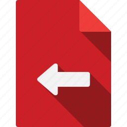 arrow, document, file, left, page, paper, sheet icon