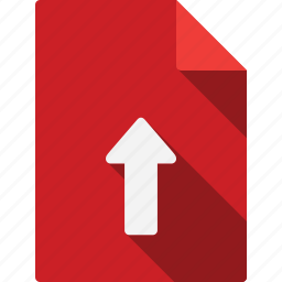 arrow, document, documents, file, files, folder, page, paper, red, sheet, up icon