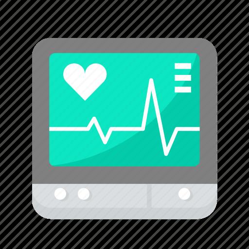ecg, heartbeat, heartbeat screen, lifeline, machine, medical icon