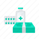 bottle, helth, medical, medicine, money, pill icon