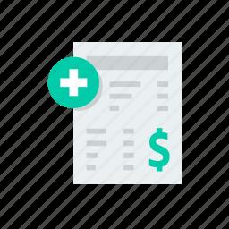 bill, helth, hospita, medical, medicine, payment icon